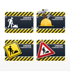 Beware traffic sign under construction set vector