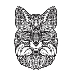 Fox head hand drawn sketch animal ethnic vector