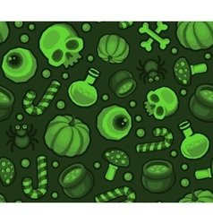 Green halloween seamless pattern background with vector