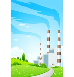 Green landscape with power plant vector