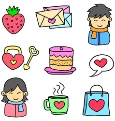 Object love theme doodles vector