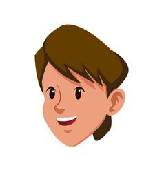 Head brunette boy young avatar vector