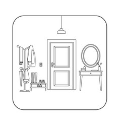 Line hallway interior with door vector