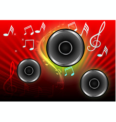 Abstract musical with speakers on red background vector