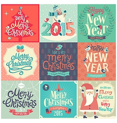 Christmas funny emblems set vector