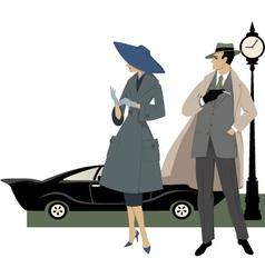 1950s street scene vector