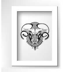 Head goat decorative drawing in ethnic style vector