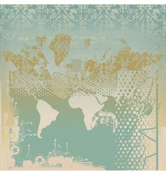 grunge world map vector image