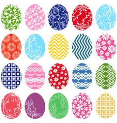 Twenty ornamental easter eggs vector