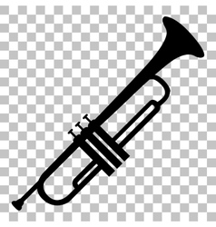 Musical instrument trumpet sign flat style black vector