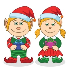 Christmas elves boy and girl vector