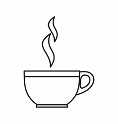 Glass cup of tea icon outline style vector