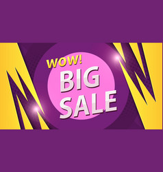 Big sale banner in yellow with purple colors vector