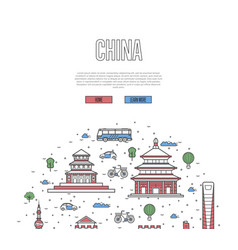 China travel tour poster in linear style vector