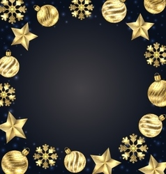 Christmas Frame of Golden Balls Stars Snowflakes vector image