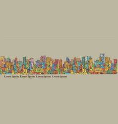City panorama hand drawn cityscape vector
