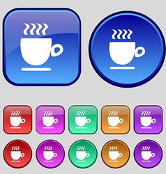 Coffee cup sign a set of twelve vintage buttons vector