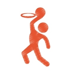 Drawing colored silhouette man player basketball vector