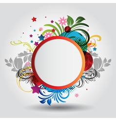 floral circle background vector image