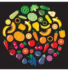 Fruits Vegetables circle vector image vector image