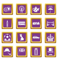 great britain icons set purple vector image vector image