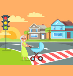 Grey hair lady with pram going on crosswalk vector