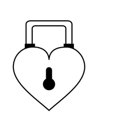 Heart shape safety lock icon image vector