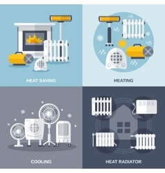 Heating and cooling flat vector