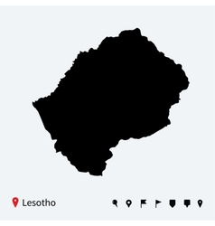 High detailed map of lesotho with navigation pins vector