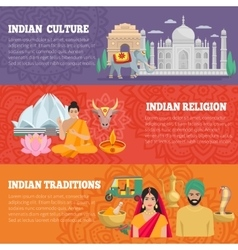 India horizontal banners set vector