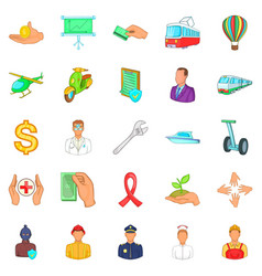 Insurance icons set cartoon style vector