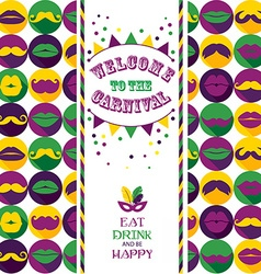 Invitation card on seamless pattern of moustaches vector