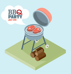 isometric barbecue flat vector image