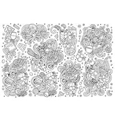 Line art cartoon set of italian food vector image vector image