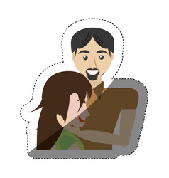 Man caress woman romance shadow vector