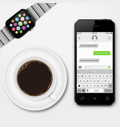 mobile phone smart watch and coffee cup vector image