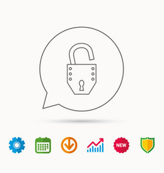 Open lock icon padlock or protection sign vector