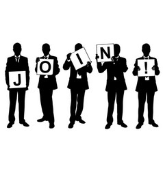 people holding join sign vector image