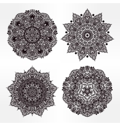 Set of abstract round mandalas in vector image vector image