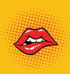 Sexy Biting Lips vector image
