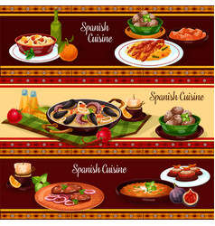 Spanish food mediterranean cuisine banner set vector