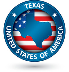 Texas state blue label with state map vector