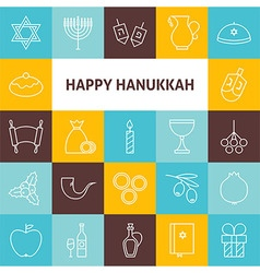 Thin line art happy hanukkah jewish holiday icons vector