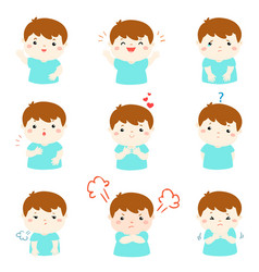 variety boy face expression vector image