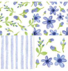 Watercolor blue flowersstrips seamless patter vector