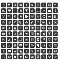 100 database and cloud icons set black vector