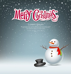 Snowman design on snowflake background vector