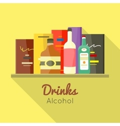 Drinks alcohol concept in flat design vector