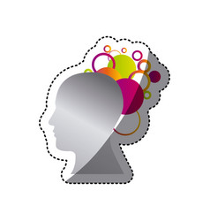 silver contour human with color bubbles icon vector image