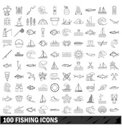 100 fishing icons set outline style vector